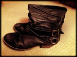 Boots with buckle detail and low, wide heel