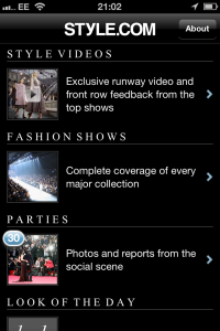 Style.com app for iPhone