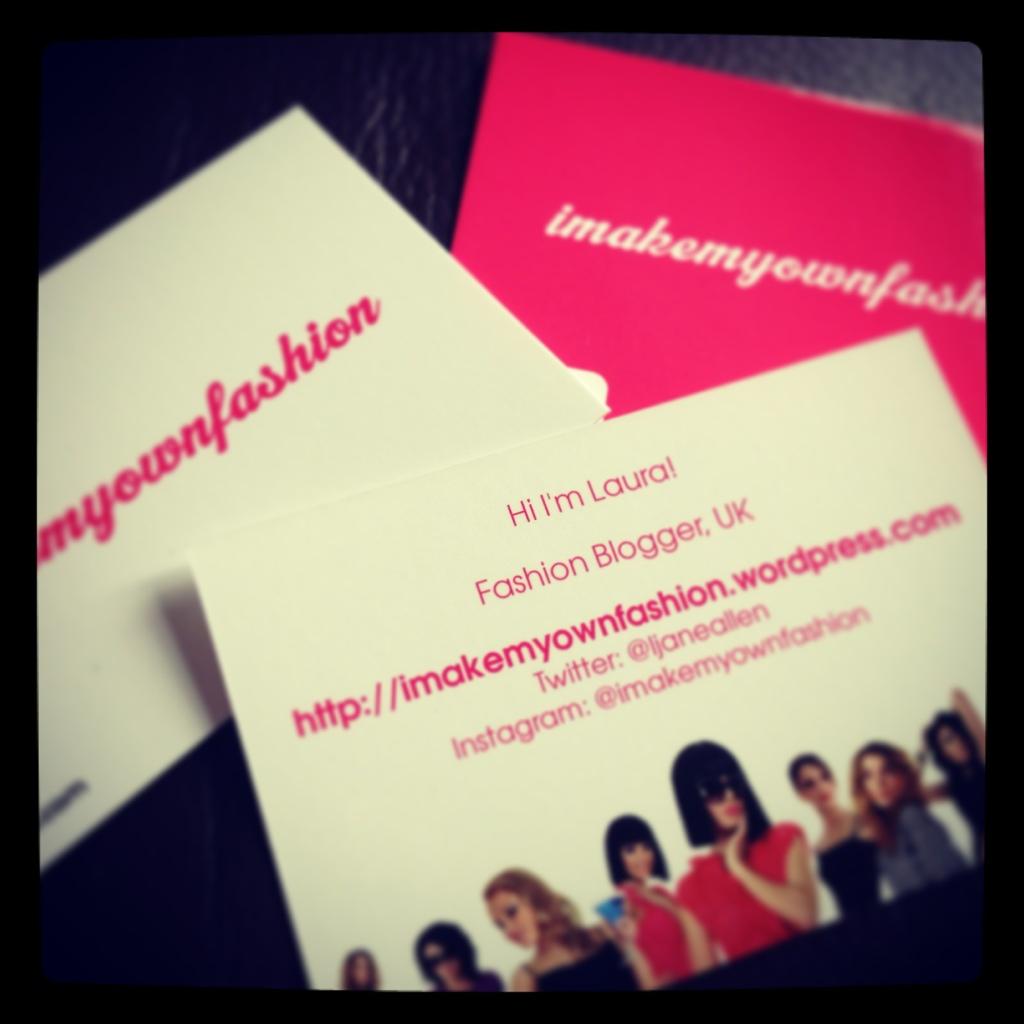 My new business cards! : imakemyownfashion
