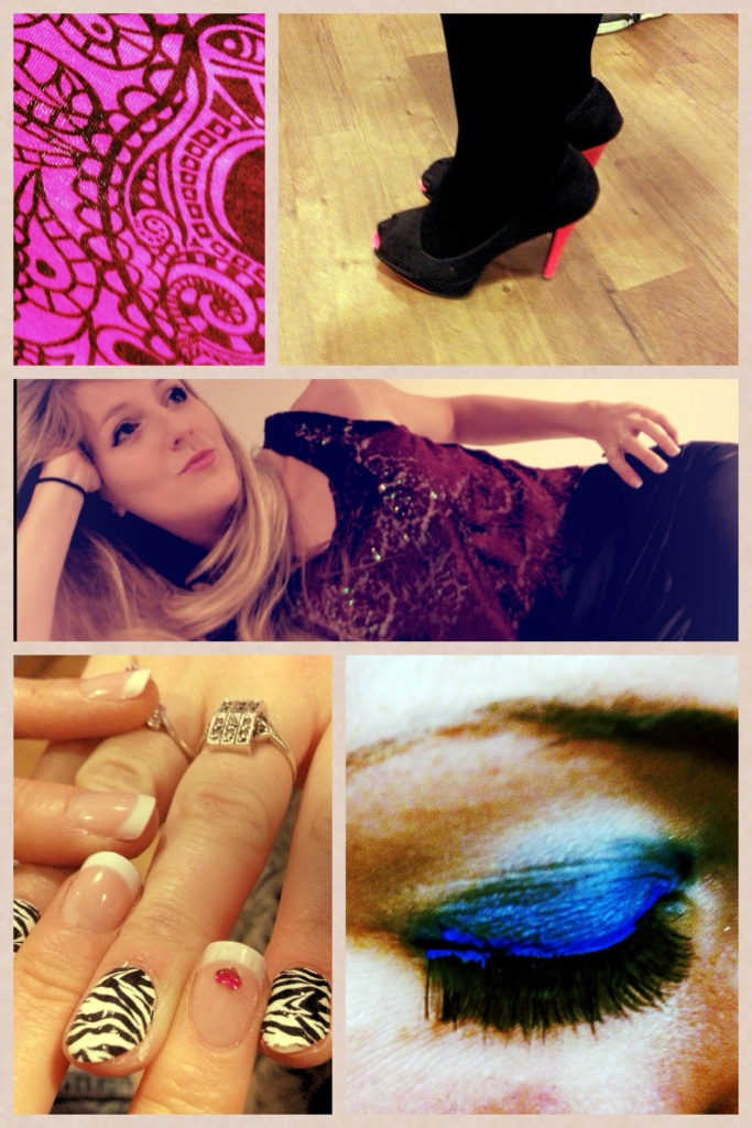 Bright pink skull print on a crop top, neon peep toe heels, lace crop with wet look leggings from Ark, Sally Hanson zebra-stripe nails and some electric blue eye make-up!