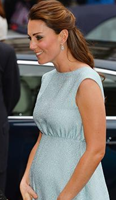 Baby blue - was it a sign from the Royal couple? Paired with a delicate set of earrings and, of course, that infamous engagement ring, blue really is her colour!