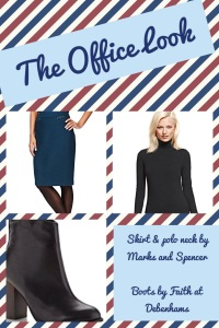 Pencil skirt and fitted polo neck by M&S Leather ankle boots by Faith at Debenhams